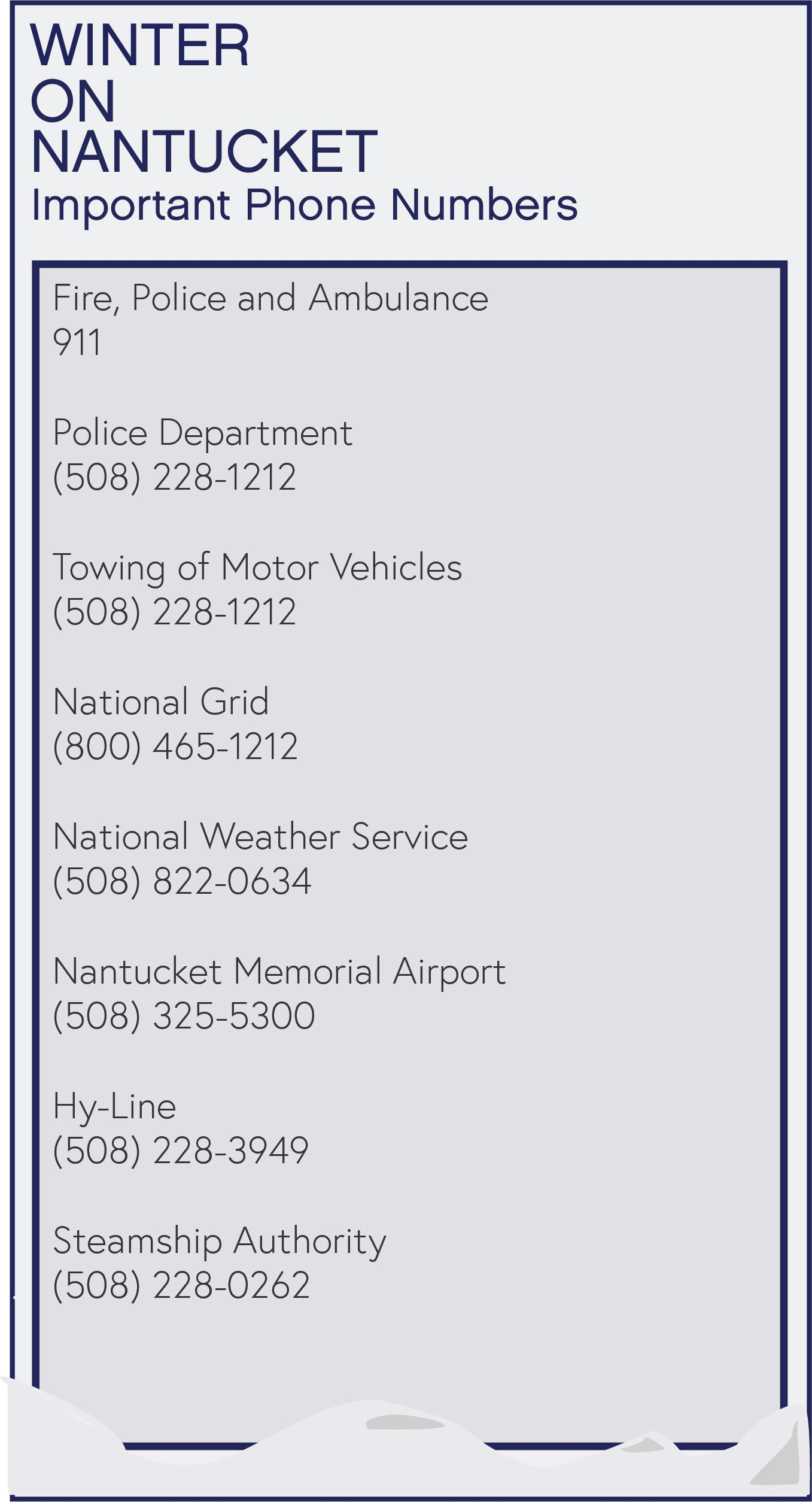Nantucket Winter Important Phone Numbers